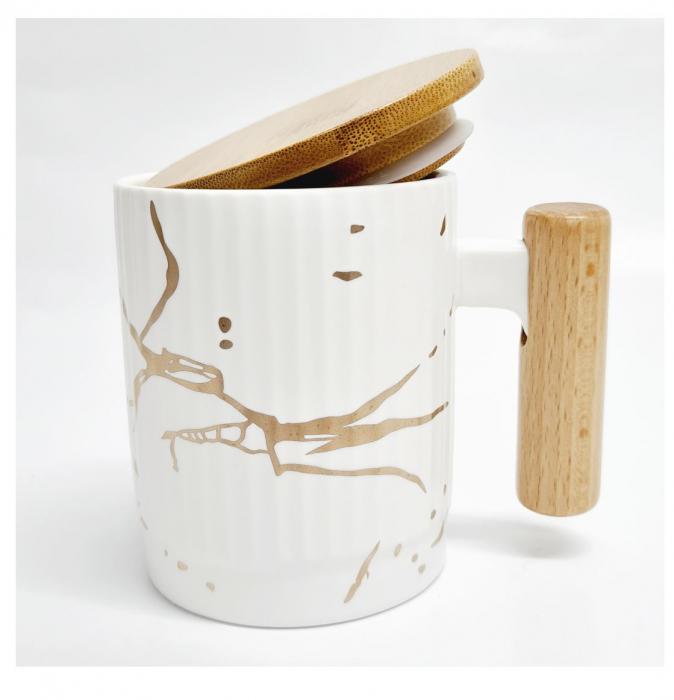 Cana Ceramica cu maner si capac din bambus, 400 ML 2