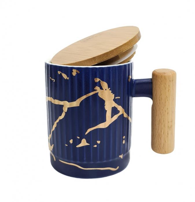 Cana Ceramica cu maner si capac din bambus, 400 ML 3