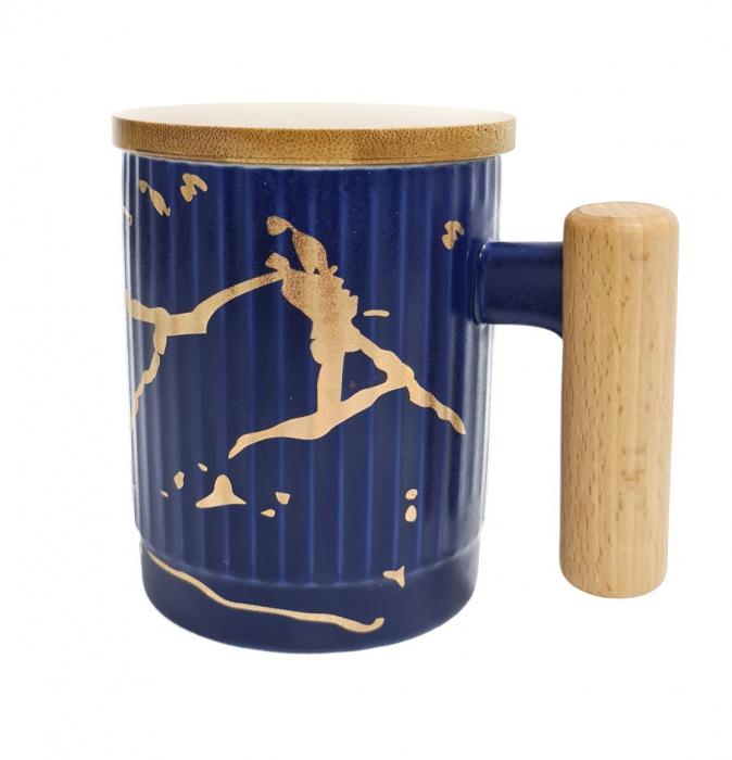 Cana Ceramica cu maner si capac din bambus, 400 ML 0