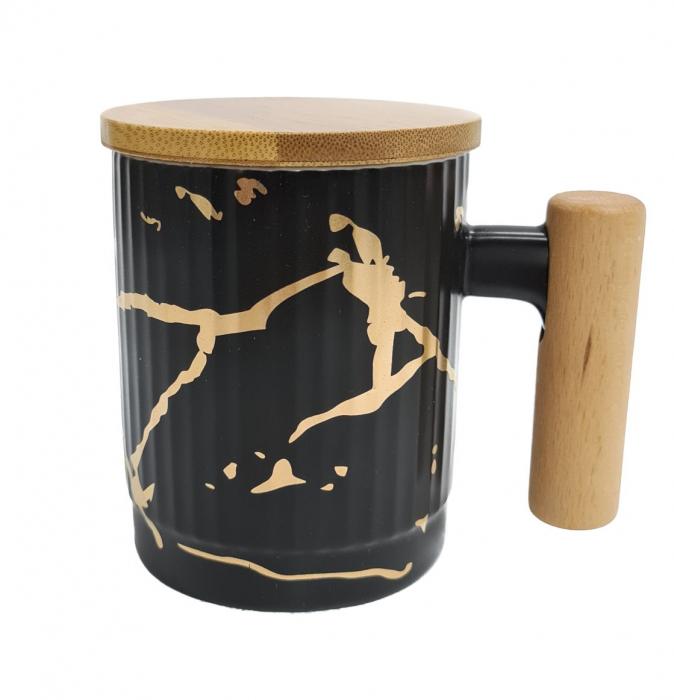 Cana Ceramica cu maner si capac din bambus, 400 ML 1