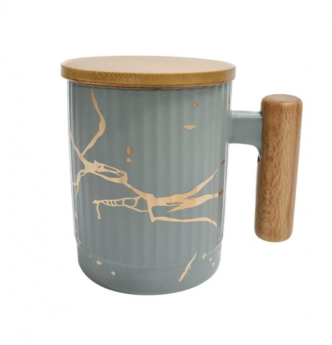 Cana Ceramica cu maner si capac din bambus, 400 ML 4