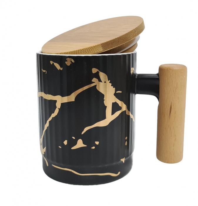 Cana Ceramica cu maner si capac din bambus, 400 ML 5