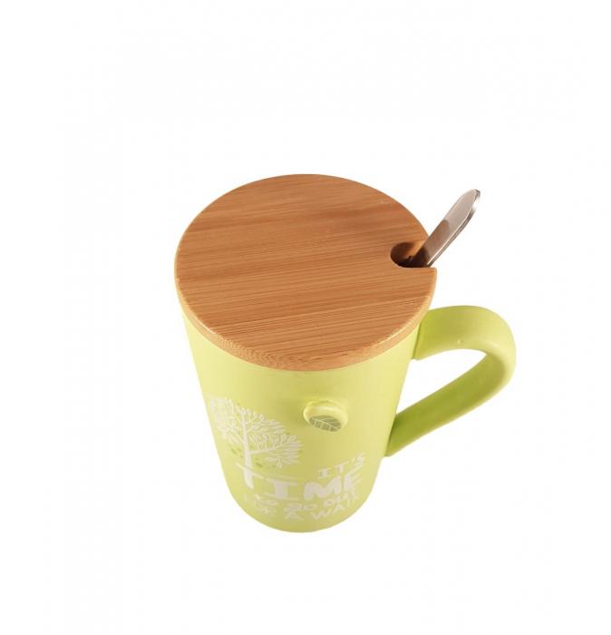 Cana ceramica GREEN, cu capac din bambus si lingurita 2