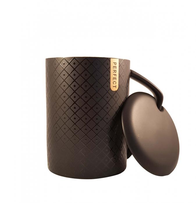 Set 2 Cani ceramice Perfect Life cu capac, Negru si Rosu, 400 ml 3