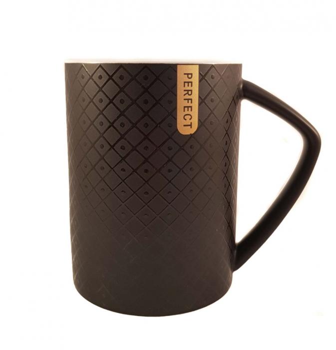 Cana ceramica Perfect Life cu capac, Negru, 400 ml 1