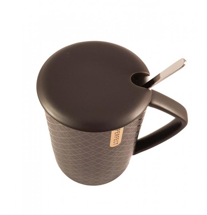 Cana ceramica Perfect Life cu capac, Negru, 400 ml 3