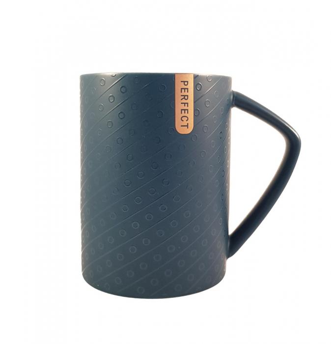 Cana ceramica Perfect Life cu capac, Albastru, 400 ml 2