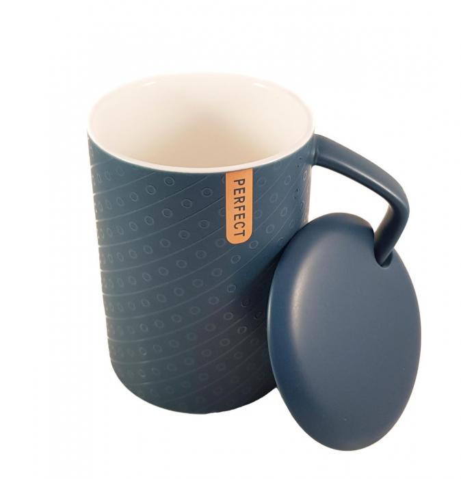 Cana ceramica Perfect Life cu capac, Albastru, 400 ml 1