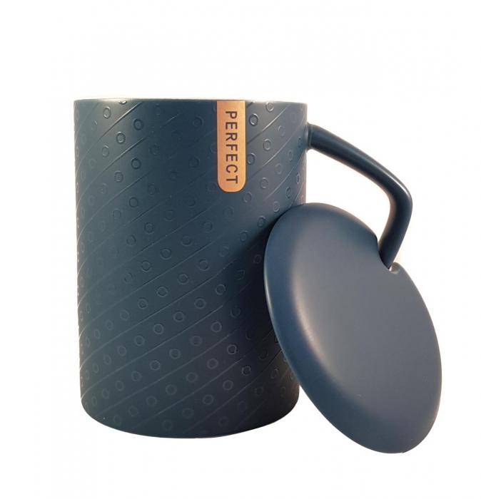 Cana ceramica Perfect Life cu capac, Albastru, 400 ml 0