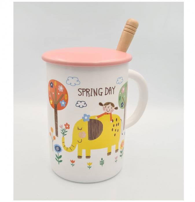 """Cana din Ceramica cu lingurita si capac """"SPRING DAY"""" 300 ml [2]"""