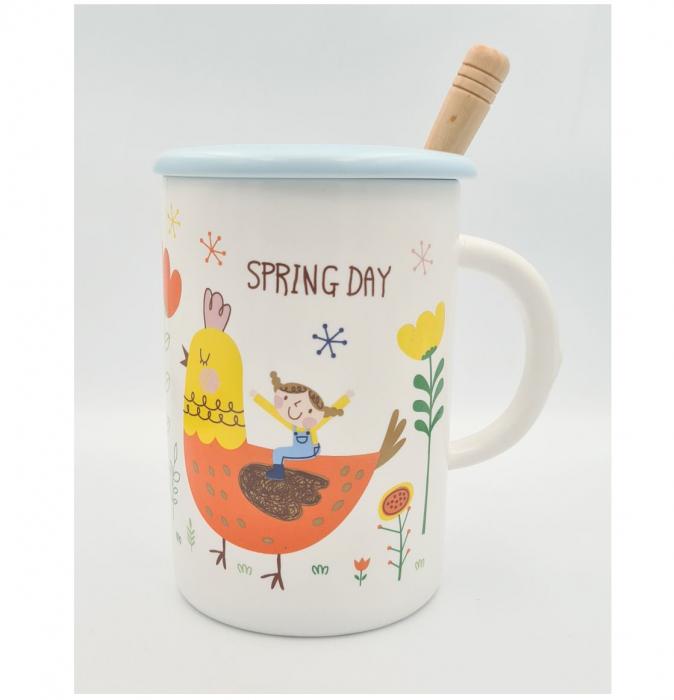 """Cana din Ceramica cu lingurita si capac """"SPRING DAY"""" 300 ml [0]"""