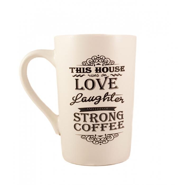 Cana ceramica Strong Coffee, Alb cu negru, 340 ml 0
