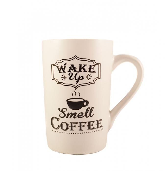Cana ceramica WAKE UP, Alb cu negru, 340 ml