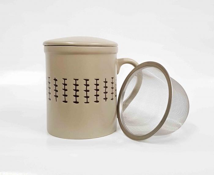 Cana cu infuzor si capac, ceramica si inox, 320 ML, Bej 2