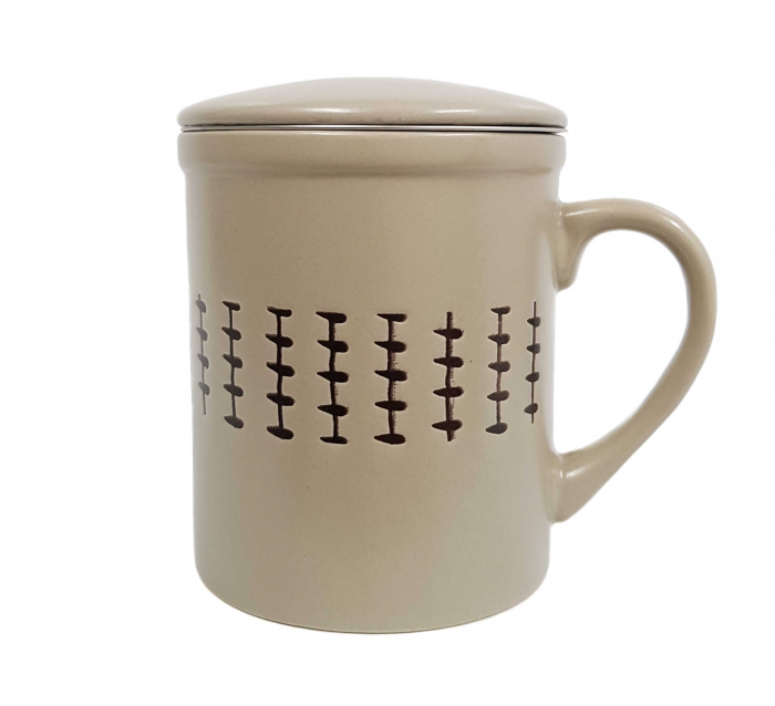 Cana cu infuzor si capac, ceramica si inox, 320 ML, Bej 0