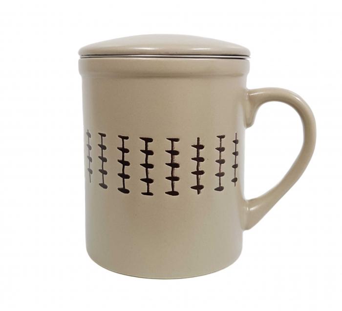 Set 2 Cani pentru Ceai, infuzor metalic si capac, Ceramica, 320 ML x 2 1