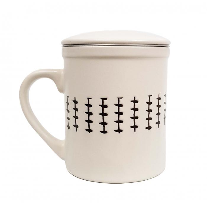 Set 2 Cani pentru Ceai, infuzor metalic si capac, Ceramica, 320 ML x 2 2