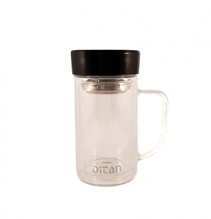 Cana pentru ceai din sticla cu pereti dubli,sita si capac, 350 ml 2