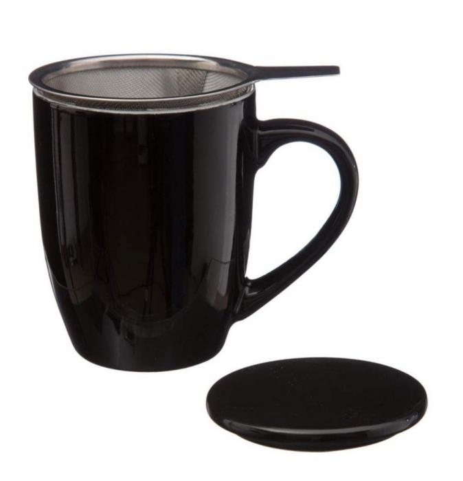 Cana cu infuzor pentru Ceai, 320 ml, Portelan, Negru 3