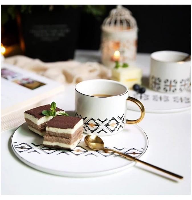 Cana cu Platou si Lingurita, pentru cafea si ceai, 200 ML 2