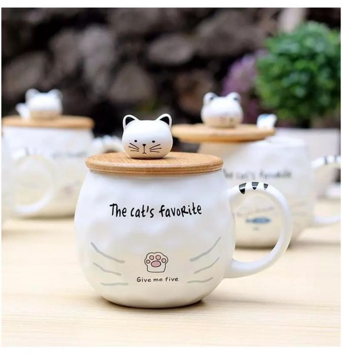 Cana Ceramica cu lingurita si capac  Bambus, CAT'S FAVORITE, 300 ml [2]
