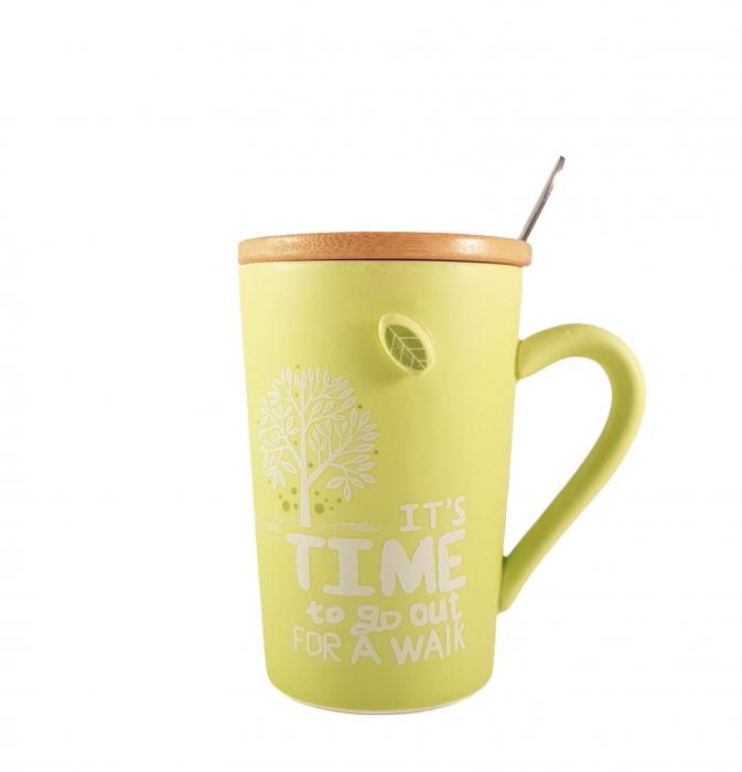 Cana ceramica GREEN, cu capac din bambus si lingurita 3