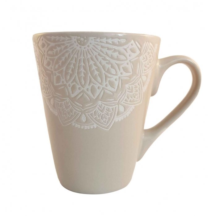 Cana MANDALA, culoare Gri, 300 ml, Ceramica