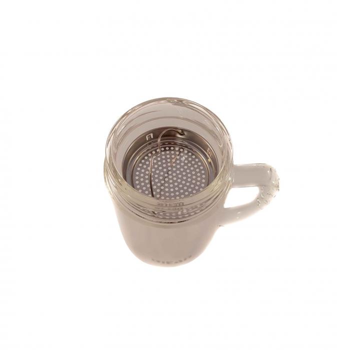 Cana pentru ceai din sticla cu pereti dubli,sita si capac, 350 ml 1