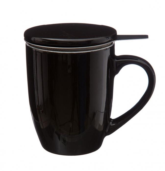 Cana cu infuzor pentru Ceai, 320 ml, Portelan, Negru 0
