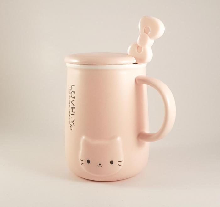 Cana ceramica cu lingurita si capac, LOVELY, 350 ml 5