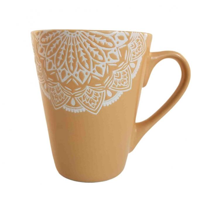 Cana MANDALA, culoare Ocru, 300 ml, Ceramica 0