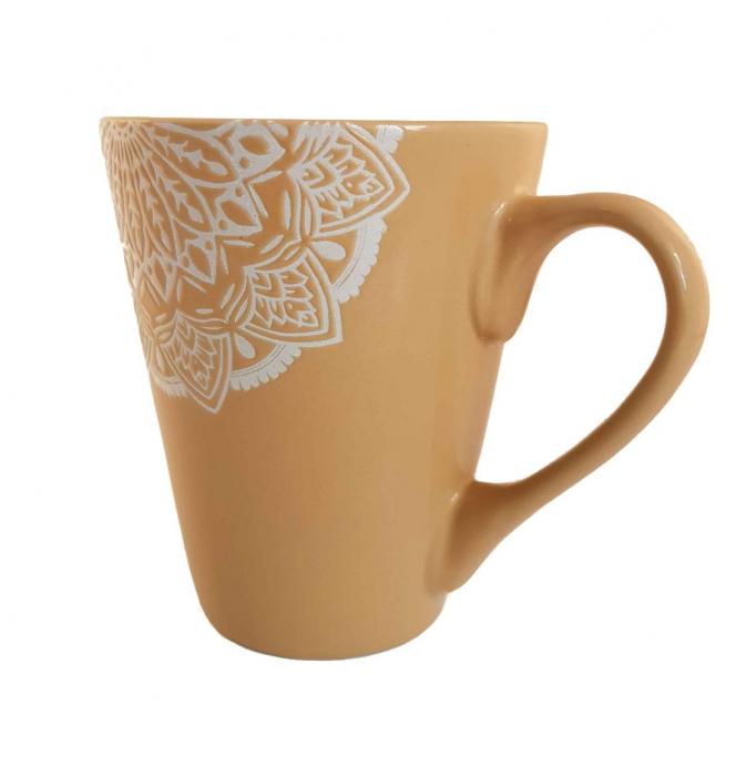 Cana MANDALA, culoare Ocru, 300 ml, Ceramica 1