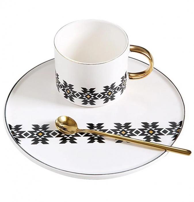 Cana cu Platou si Lingurita, pentru cafea si ceai, 200 ML 1