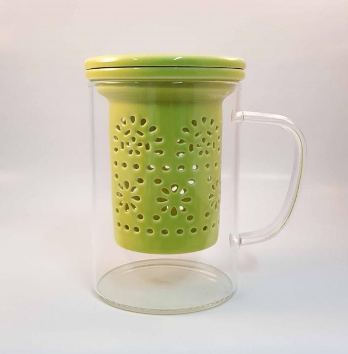 Cana pentru Ceai cu Infuzor si Capac din Ceramica, 400 ml 1