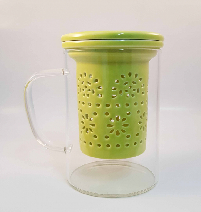 Cana pentru Ceai cu Infuzor si Capac din Ceramica, 400 ml 0