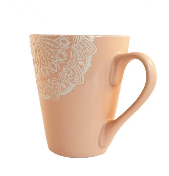 Cana MANDALA, culoare Roz, 300 ml, Ceramica 1