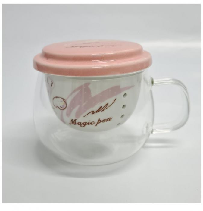 Cana din sticla transparenta cu infuzor si capac din ceramica, 200 ml 0