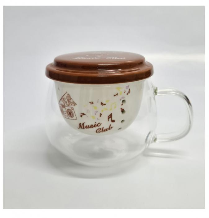 Cana din sticla transparenta cu infuzor si capac din ceramica, 200 ml 3