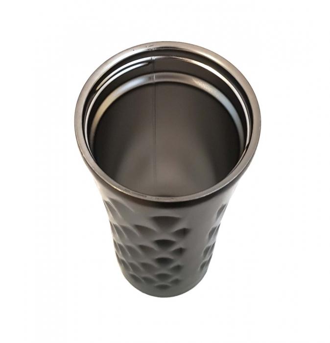 Cana termos din Inox cu perete dublu, Negru, 460 ml 1