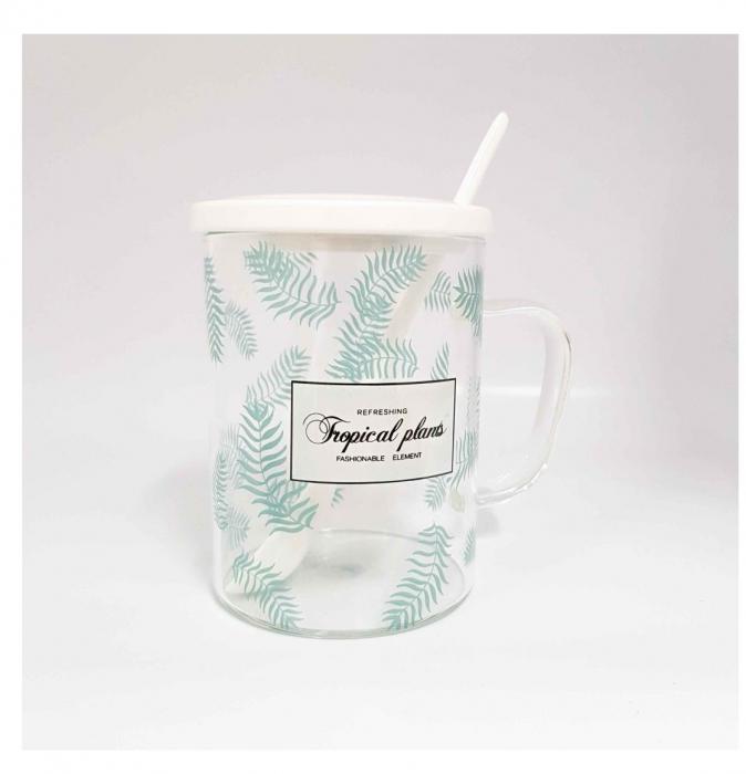 Cana din Sticla cu Capac si lingurita ceramica, TROPICAL, 350 ML 2