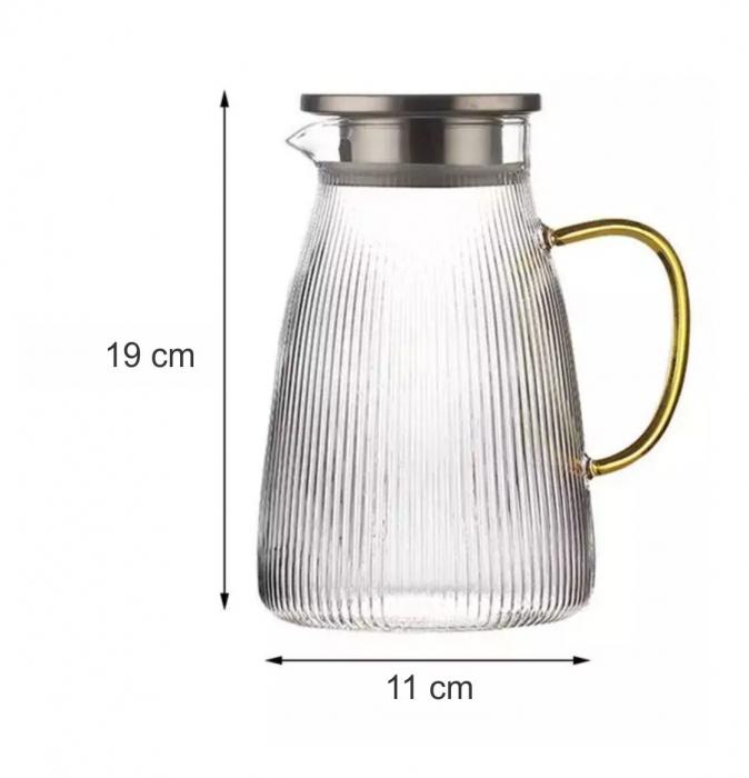 Carafa din sticla Borosilicata, LINES, 1,3 Litri [3]