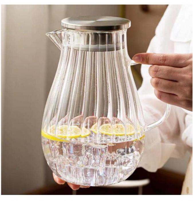 Carafa din sticla Borsilicata, cu maner din sticla, 1.5 Litri 0