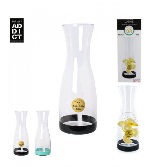 Carafa pentru Limonada sticla transparenta si negru ,1 Litru 3
