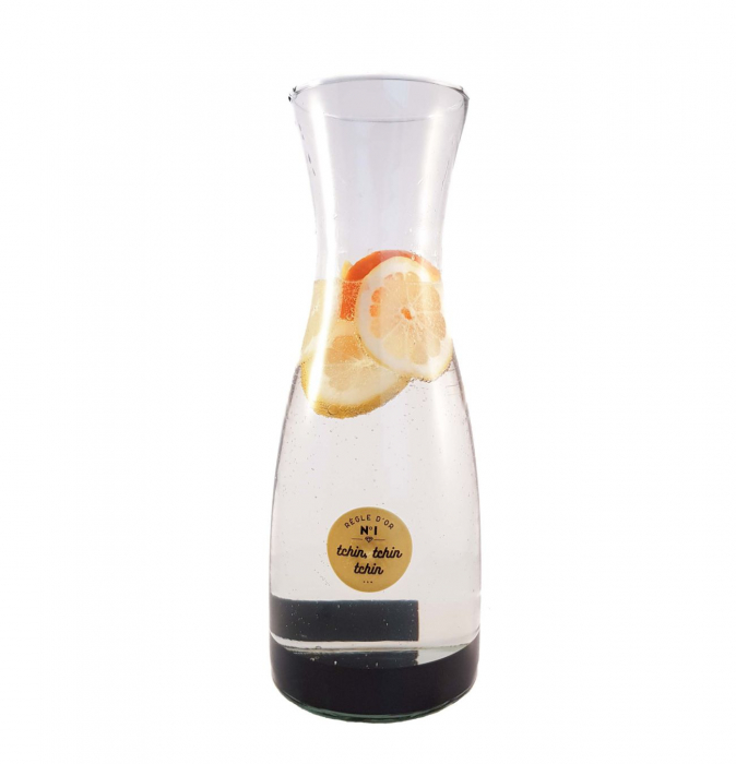 Carafa pentru Limonada sticla transparenta si negru ,1 Litru 1
