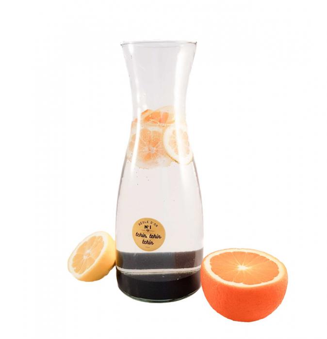 Carafa pentru Limonada sticla transparenta si negru ,1 Litru 0