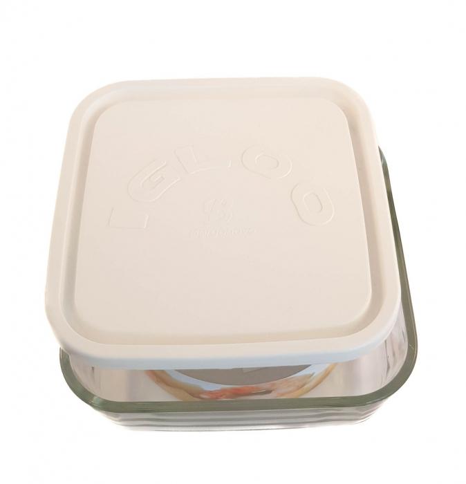 Caserola patrata din sticla, capac plastic, 960ml, Alb