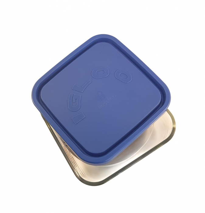 Caserola patrata din sticla, capac plastic, 960ml, Albastru 1