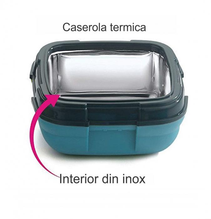 Caserola termica pentru alimente, 1 litru, Albastru 3