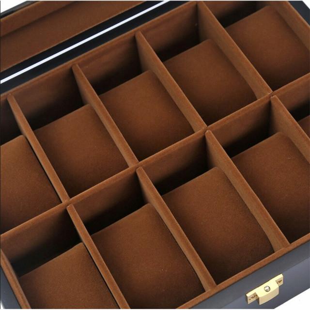 Cutie pentru 10 Ceasuri, Lemn si sticla, Negru, 26X20X8.5 CM 1