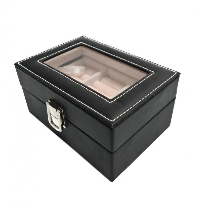 Caseta pentru Bijuterii, Inele /Cercei /Butoni, piele ecologica, Negru, 15.5X11X8 CM 1